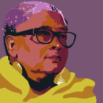 illustrated graphic portrait of Lisa Brock in yellow scarf.