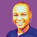 illustrated portrait of Mia against a purple background