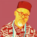 illustrated portrait of Baba Buntu against a red background