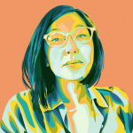 illustrated portrait of Mika against an orange background