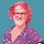illustrated portrait of Jaime against a blue background