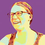 illustrated portrait of Alice against a purple background